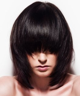 Graduated Concave Layered Long Bob Haircut