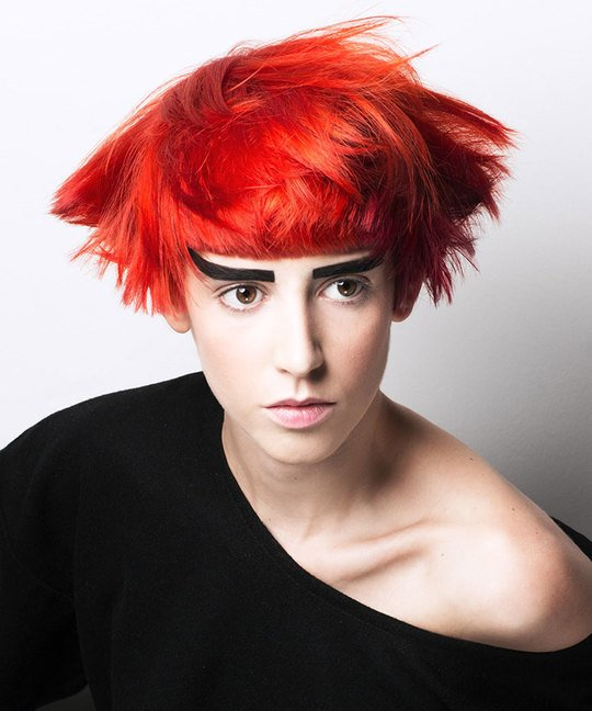 Modern Red Bob Using Cross Checking Colours